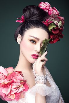 Pale beauty. Pink faded flowers. Flower crown/hat. Pink lips. Lace dress/accessories.