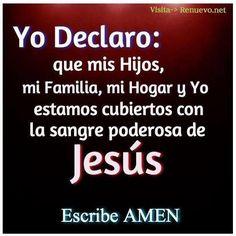 Mis Hijos, mi familia, mi hogar, y yo estamos cubiertos con la sangre poderosa de Jesús.  AMEN!