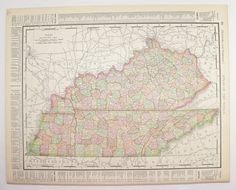 Kentucky Map Tennessee 1898 Vintage Art Map, Mississippi Map, Southern State Map, Antique Wall Map, Office Wall Art, Gift for Coworker available from OldMapsandPrints on Etsy