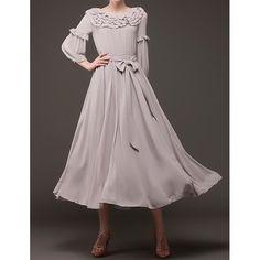 Wholesale Solid Color 3/4 Sleeve Ruffled Collar Lace-Up Design Wide Hem Chiffon Dress For Women (LIGHT GRAY,S), Chiffon Dresses - Rosewholesale.com