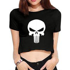TLK Custom Women Punisher Logo Cotton Crop Top *** Continue to the product at the image link. (This is an affiliate link and I receive a commission for the sales) Punisher Logo, Punisher Skull, Top Reads, Nursing Wear, Cotton Crop Top, Women's Earrings, Image Link, Note, Crop Tops