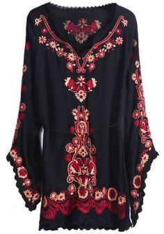 Чёрная с рукавом пузыри вышитая блузка pictures