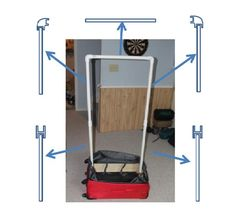 You can easily convert a large old suitcase into a portable wardrobe in a few hours.  The is useful for people who have kids involved in dance competitions  The project basically consists of adding a wood frame inside the lining of a suitcase to support two pegs. Those two pegs are used to support a frame made from PVC that is used as a portable wardrobe.  The PVC frame comes apart for storage inside the suitcase. Dance bag with rack
