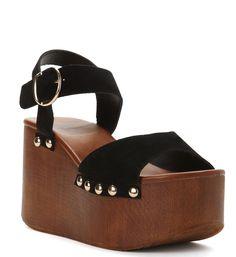 Black A Little Higher Platform Sandal