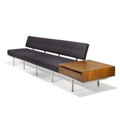 Florence Knoll, Custom Walnut and Aluminum Sofa for an Executive of ALCOA by Knoll Associates, 1954.