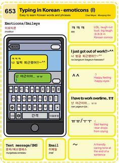 653 Easy to Learn Korean: Typing in Korean - emoticons (I) Korean Words Learning, Korean Language Learning, Learn A New Language, Spanish Language, Italian Language, German Language, Japanese Language, French Language, Korean Slang