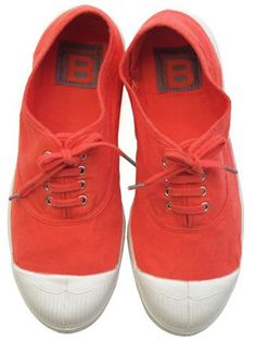 Bensimon Tennis Lacet Corail Sneakers www.theblush.com #tangerine