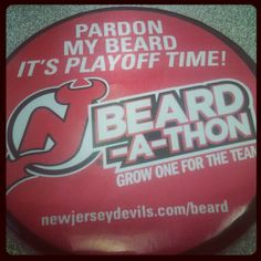 New Jersey Devils beard-a-thon pin for employees