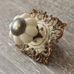 £7.95 Aged White Metal Drawer Knob