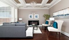 Fascinating Turquoise Decorating Ideas: Luxury Living Room Grey Sofa Decorating With Turquoise