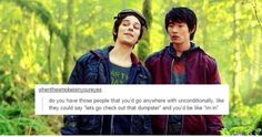 Tumblr and the 100 being funny. I do love the Jasper and Monty bromance