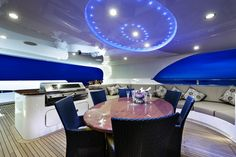 """Outdoor BBQ area onboard the incredible private superyacht """"Zenith"""". Designed by ID Studios Pyrmont"""