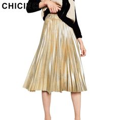 CHICING 2016 New Women Midi Skirt Fashion Bling Bling Sequined Glitter Metallic Party Style Ladies Skirt Saia Fenimias A1608018