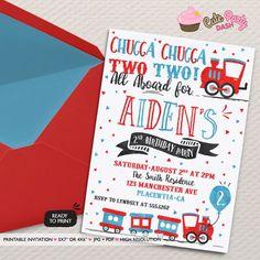 Chugga Chugga Choo choo Train Birthday Party invitations two two Birthday Party printable invitations Watercolors birthday invitations by CutePartyDash on Etsy https://www.etsy.com/listing/484324640/chugga-chugga-choo-choo-train-birthday