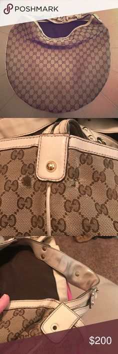 Gucci hobo bag Authentic Gucci handbag, some wear on the sides by the strap.  One strap is missing hardware.  I absolutely love this bag, it still has a lot of life left. Gucci Bags Hobos