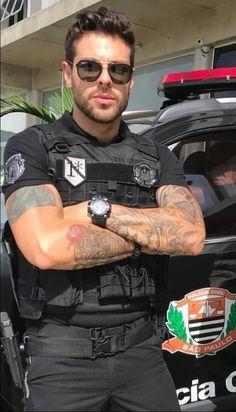 Handsome in uniform. Handsome in uniform. Cop Uniform, Men In Uniform, Sexy Military Men, Hot Guys Tattoos, Hot Cops, Inked Men, Good Looking Men, Police Officer, Cute Guys