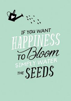 Postkaart 10 x 15 cm met tekst 'If you want happiness to bloom simply water the seeds'