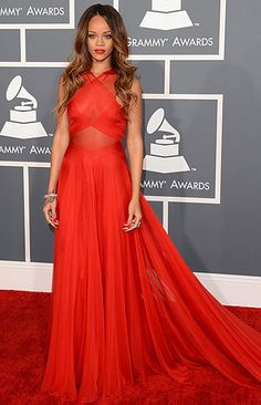 Grammy Awards 2013 | If you look closely, you'll see that her dress is quite sheer (that's fashion speak for see through), but this is the most fabric I've…