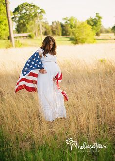 military wife pregnant pictures photos of maternity portraits american flag in field nature outdoors north carolina hillsborough mebane burlington greensboro