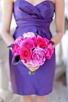 purple dresses + pink bouquet | photo by Ivy Weddings