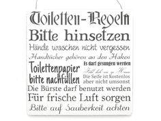 XL TOILETTEN REGELN WC BAD Shabby Vintage Schild von Interluxe via dawanda.com