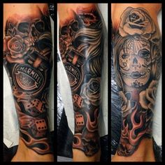 Black & Grey Tattoo #marmite #dayofthedead #roses www.brownstattoos.co.uk