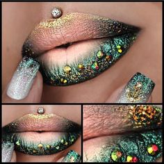 Amazing lip art 💋 by 🦄 🐚🐠✨🐍 'I'm Nude' Velour liquid lipstick, loose colour 'Twirl & Chlorophyll', 'Junebug & Goldilux' and Glitter 'Taylor & Golden Fairy Glitter' ✨ Velour Liquid Lipstick, Lipstick Art, Lip Art, Blue Lipstick, Lip Gloss Colors, Lip Colors, Makeup Art, Lip Makeup, Makeup Items