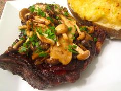 Sauteed Rib Eye with Mushrooms and Taleggio Ca De Ambros stuffed Twice Baked Potato.  See all pic's and recipe at : www.ChefsOpinion.org