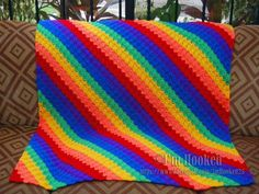 Corner to Corner Afghan Rainbow using pattern http://www.redheart.com/free-patterns/crochet-corner-corner-throw