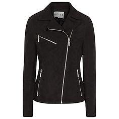 Buy Reiss Mick Suede Biker Jacket, Black/White Online at johnlewis.com