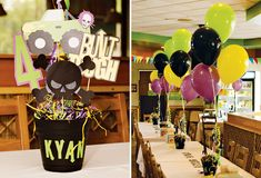 Another great example of using balloons as table centerpieces. It only takes a few per centerpiece and they really fill a room - especially if your room has tall ceilings. jam parti, birthday parti, grave digger birthday party, centerpiec, bubba birthday, 3rd birthday, balloon, monster truck, monster jam