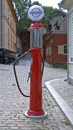 Vintage Gas Pumps, 1930s, Fire