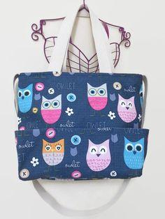 Cute Owl Printed Large Tote Bag, Baby Diaper Bag, Handmade, Canvas, Cotton, Shoulder Bag, Daily, Travel, Weekender, Women, Mom, Newborn by EmotionalNursery on Etsy