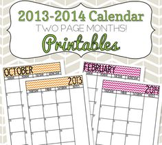2013-2014 Calendar Printable Colorful Chevron by SimplyBrenna, $6.00