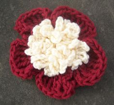 Burgandy and Ivory Crochet Flower Pin, FREE SHIPPING