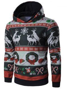 À capuche de Noël de renne et Snowflake Imprimer Hoodie - BLACK 2XL