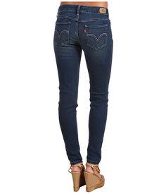 """Levi's® Juniors 535™ Legging-skinny fit through seat thigh leg, stylish low rise, resilient denim for for high stretch comfort, leather brand patch at waist, zip fly button closure, medium 30"""" inseam, color indigo sky,  68% cotton, 24% polyester, 7% viscose, 1% elastane, Macy's (size 3M)"""