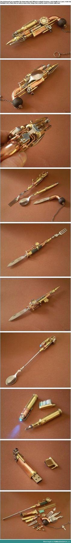 Steampunk pen that looks like a gun