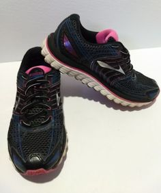Brooks Glycerin 12 Running Shoes Womens Size 8 Anthracite Black Pink Blue 707cea1a2