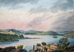 Original drawing of of Dawes Battery at the Entrance of Sydney Cove ca 1818, by Joseph Lycett