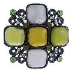 #99542 Jewel Floral Brooch Pin-Olivine