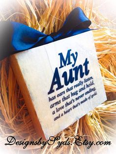 Aunt Sign Wood Block Sign App 6x6 by DesignsBySyds on Etsy
