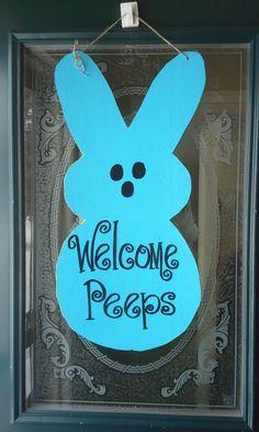 Easter Bunny Welcome Peeps Door Hanger Welcome Sign