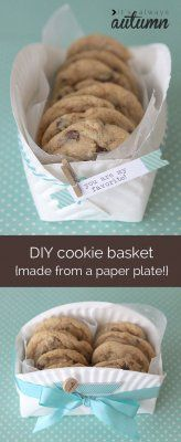 A Cute & Clever Way to Package Homemade Cookies - Gift packaging- Hediye paketleme sanatı - DIY Cookie Basket Made From A Paper Plate - Cookie Gift Baskets, Cookie Gifts, Food Gifts, Cookie Box, Gourmet Cookies, Paper Plate Crafts, Paper Plates, Paper Plate Basket, Homemade Cookies
