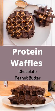Protein Waffles Chocolate Peanut Butter. A high protein and healthy breakfast waffle. The perfect combination of sweet and salty. A healthy snack to satisfy anyone's waffle craving. This is a super fast and simple waffle recipe. #Waffle #BestWaffle #ChocolatePeanutButter #HealthyWaffle #ProteinTreats #EasyBreakfast #LowSugarWaffle #LowSugarSnack