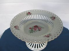 Formalities Porcelain Floral Lattice Pierced Pedestal by BitofHope