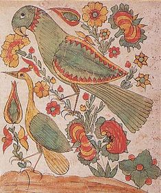 """Johann Henrich Otto (1733-1799) """"Bird and Flowers"""" watercolor and ink on laid paper Lancaster county"""