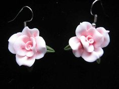 Pink Cold Porcelain Earrings - ShopHandmade