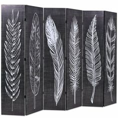 6 Panel Room Divider with Feather Print Wooden Frame Canvas Cover Home Furniture Dressing Screen, 4 Panel Room Divider, Folding Room Dividers, Wall Dividers, Feather Print, Wooden Frames, Canvas Frame, Black And White, Decoration