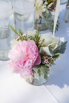 simple pink & white centerpiece for wedding reception / Koru Wedding Style: {Pink & White Florida Beach Wedding} Laura & Stephen